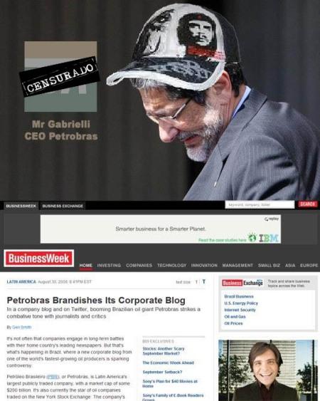 Sergio Gabrielli - CEO da Petrobras - checando a repercussão internacional do seu blog chapa-branca